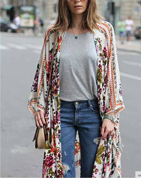 Bohemian Floral Printed Long Large Shawl Capes Coat