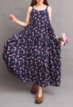 Vintage Linen Floral Print Loose Bohemia Beach Maxi Dress