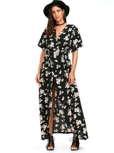 Floral Print V Neck Split Belted Beach Maxi Dress