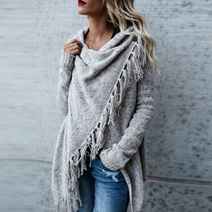 Knit Long Sleeve Tassel Irregular Sweater