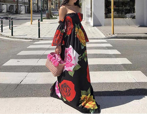 Black Rose Floral Strapless Off Shoulder Sleeve Big Hem Long Dress