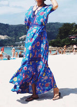 Printed Deep V Neck Tassel Bohemia Beach Maxi Dress