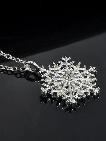 Charms Crystal Snowflake Zircon Christmas Necklace