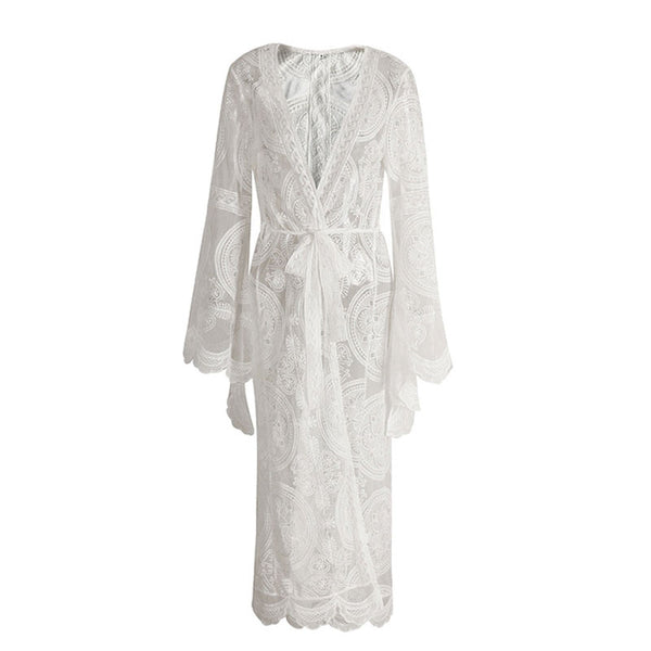 Bell Sleeve Lace Maxi Summer Bohemian Beach Dress Cover-up