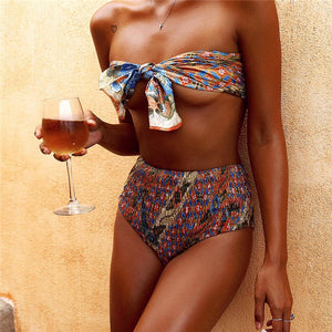 Bowknot Floral Print High Waist Bikini Set Swimsuit