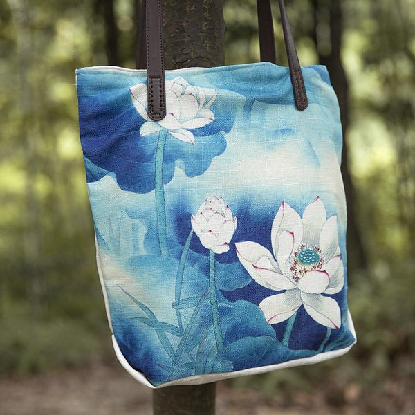 Casual Women Literature Canvas White Lotus Shoulder Bag