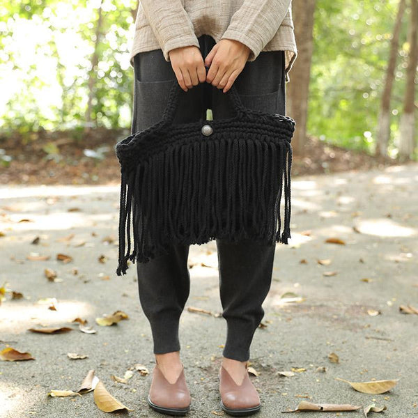 Delicate Cotton Linen Knitted Black And White Two Colors Tassel Handbag