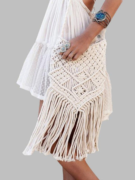 Handmade Cotton Knitting Bohemia Tassel Bag