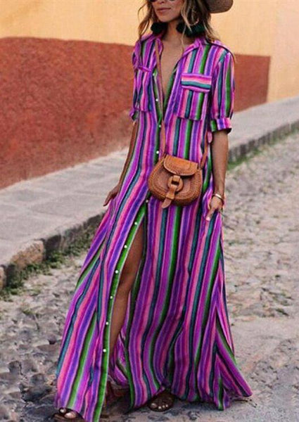 2018 New Stripe Loose Maxi Long Dress