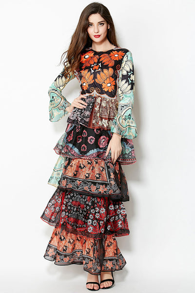 Long Sleeves Floral Printed Tiered Ruffles Layered Maxi Dress