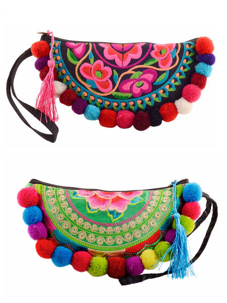 Ethnic Style Semicircle Embroidered Pom Small Handbag Purse