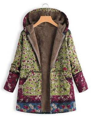Winter Floral Women Hooded Thick Fleece Coat