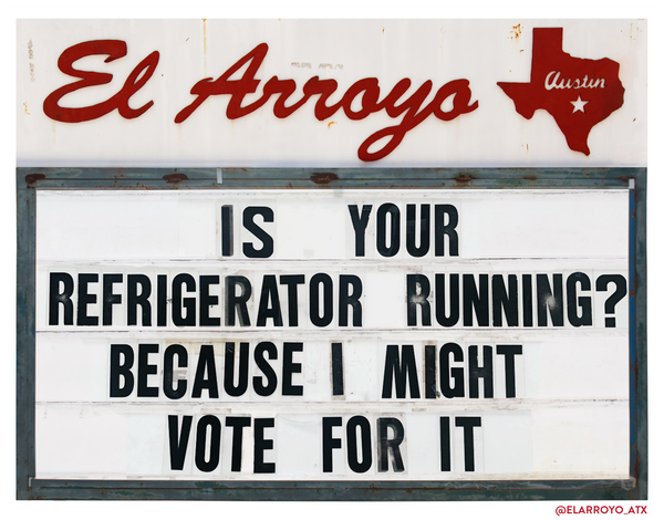 Refrigerator Running Yard Sign