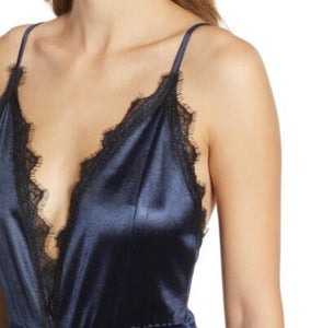 Navy Lace Trim Satin Jumpsuit
