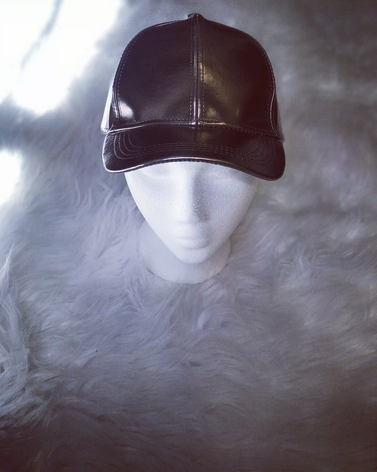 Metallic Faux Leather BaseballCap