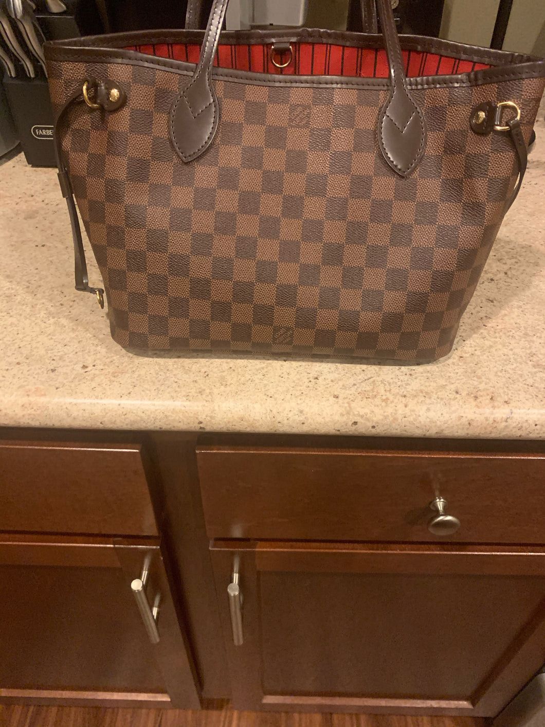 Authentic Louis Vuitton Used Damier Ebene NeverFull PM 2017