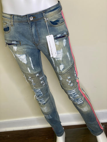 Unisex Denim Side Tape Jeans