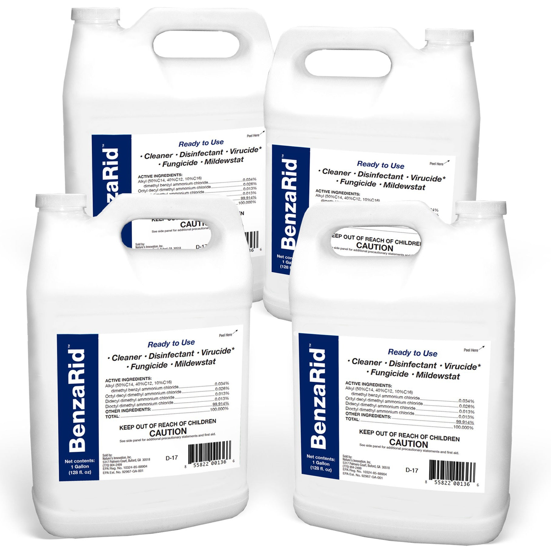BenzaRid Hospital Grade Cleaner - Disinfectant, Virucide, Fungicide - 4 Gallons