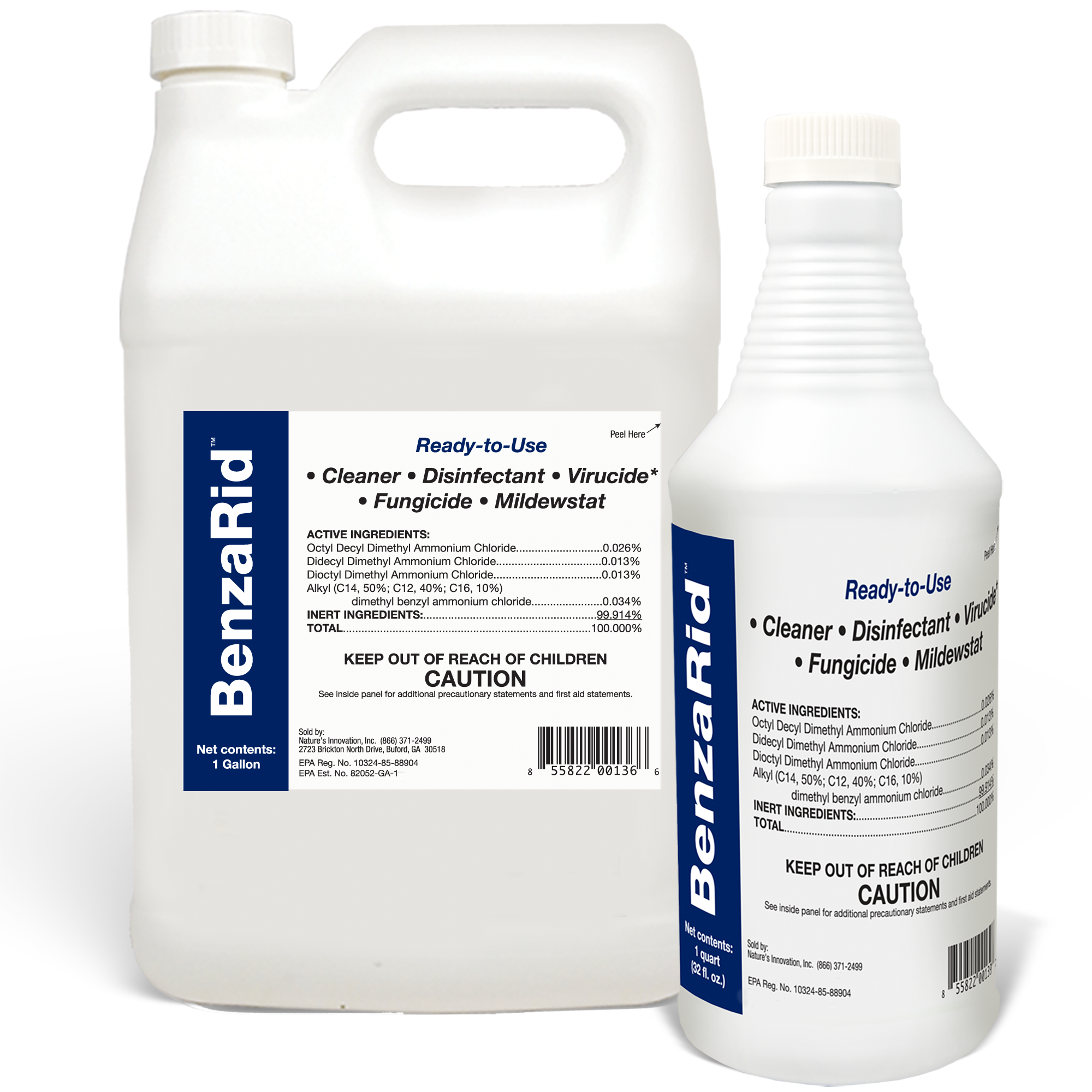 BenzaRid Hospital Grade Cleaner - Disinfectant, Virucide, Fungicide - 5 Gallon
