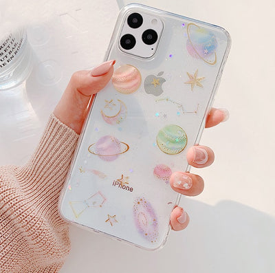 Glitter Bling Moon Stars Planet Phone Case