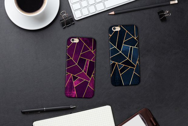 Vintage Geometric iPhone Case - Purple/ Blue - iPhone X/XS