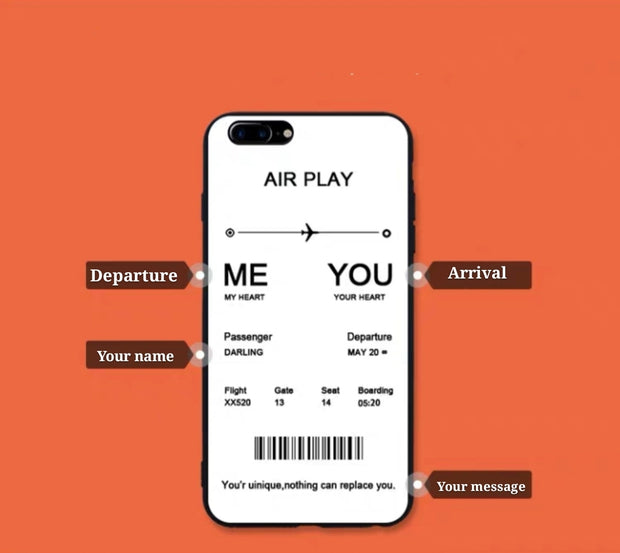 Personalized Custom Phone Case - Flight Ticket | For Couple