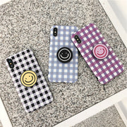 Smiley Face Plaid Soft Case | iPhone XSM/XS/XR/8/7/6