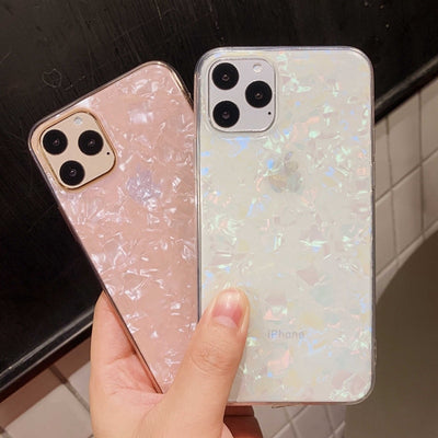 Glitter Shell Pattern Clear Soft iPhone Case