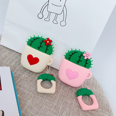 Cute Cactus Heart Soft Silicone Airpods Case