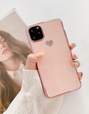 Luxury Electroplated Love Heart Silicone iPhone Case | iPhone 11/Pro/Max/ 10/Pro/Max/X/XS/XR