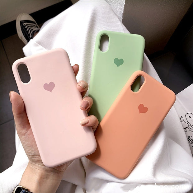 Love Heart Silicone Phone Case  | iPhone 11/Pro/Max/ 10/Pro/Max/X/XS/XR/8/7