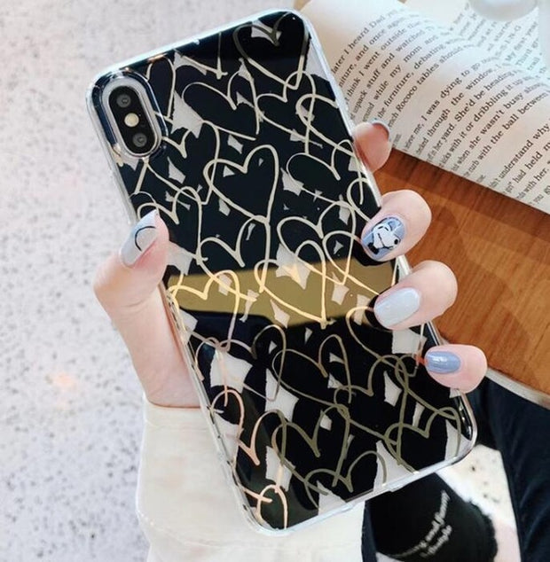 Gold Line Love Heart iPhone Case | iPhone XS Max/X/XS/XR/8/7/6