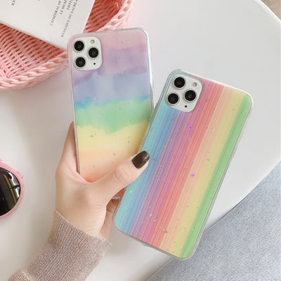 Glitter Colorful Rainbow Soft Phone Case