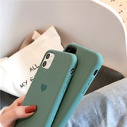 Midnight Green Love Heart Silicone Case | iPhone 11/Pro/Max/ 10/Pro/Max/X/XS/XR/8/7/6