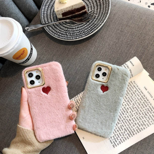 Love Heart Embroidery Fluffy Case | iPhone 11/Pro/Max/ 10/Pro/Max/X/XS/XR/8/7/6