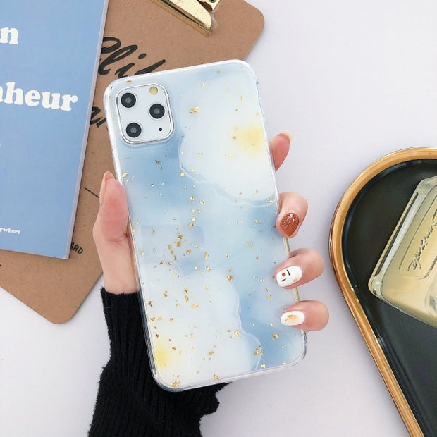 Blue Flower Gold Foil Soft Phone Case