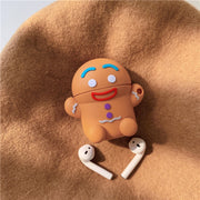 3D Cute Gingerbread Man Silicone Airpods Case