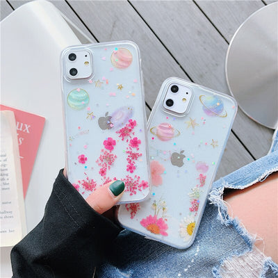 Gliter Planet with Real Dried Flower Clear Phone Case