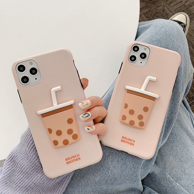 3D Pearl milk tea silicone phone Case