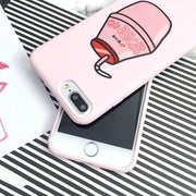 Cartoon Peach Drinks Silicone Phone Case
