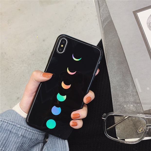 Glossy Glitter Gradient Laser Shining Moon Eclipse Phone Case