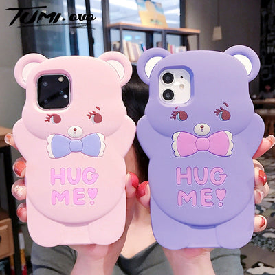 3D Cartoon Pink Bear Silicone Phone Cases