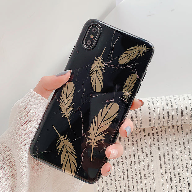 Electroplated Vintage Gold Leaf Soft Phone Case