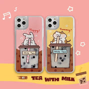Cute Cartoon Cat Animal Milk Tea Liquid Phone Case