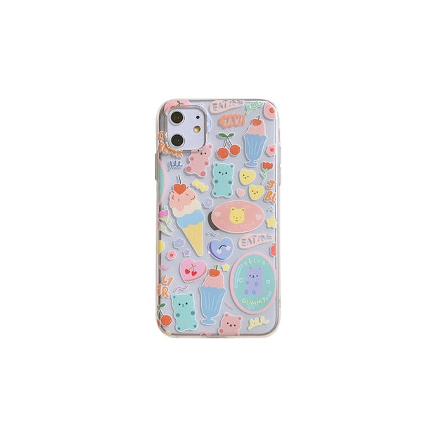 Cute Rainbow Gummy Bear Cherry Ice Cream Phone Case