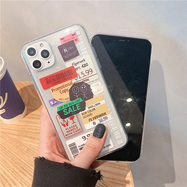 Clear Stamp Label bar code Phone Case