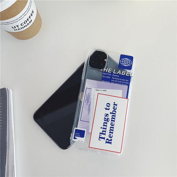 Things To Remember Clear Silicone Phone | iPhone 11/Pro/Max/ 10/Pro/Max/X/XS/XR/8/7/6