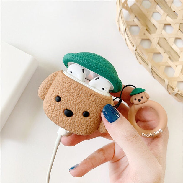 Cute Animal Poodle Teddy Dog Airpods Case