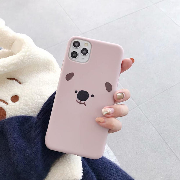 Cartoon Bear Pattern Silicone iPhone Case