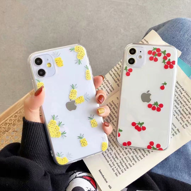 Summer fruit Pineapple Cherry Clear Soft Case  | iPhone 11/Pro/Max/ 10/Pro/Max/X/XS/XR/8/7/6